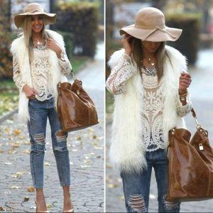 Rachel Roy Faux Fur Vest Size Small